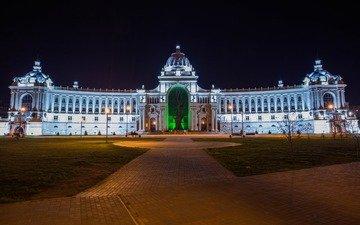 night, lights, tree, russia, backlight, architecture, the building, palace, kazan, tatarstan