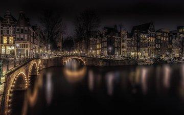 ночь, огни, мост, дома, нидерланды, амстердам