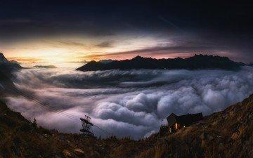 облака, ночь, горы, горизонт, панорама, канатная дорога