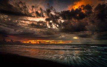 небо, облака, вода, вечер, берег, закат, море