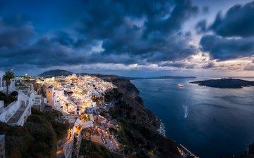 огни, море, побережье, остров, греция, санторини, aegean sea, фира, эгейское