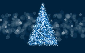 lights, new year, tree, decoration, background