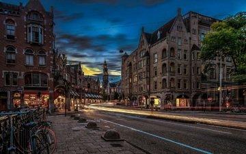 огни, вечер, дома, улица, нидерланды, амстердам