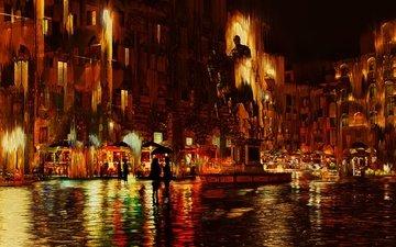 отражение, кафе, италия, дождь, флоренция, статуя, зонты, брусчатка