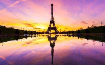 отражение, париж, франция, зарево, эйфелева башня
