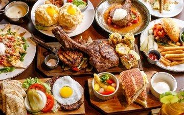 фрукты, овощи, мясо, картофель, бургер, яичница, пирожки, ассорти, блюда