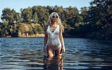озеро, блондинка, очки, красиво, мокрая, фигурка