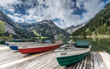 небо, облака, деревья, озеро, горы, лодки, австрия, пристань, тироль