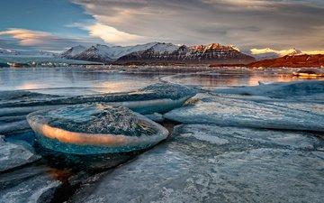 озеро, горы, снег, берег, лёд