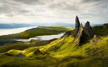 озеро, склон, гора, шотландия, old man of storr