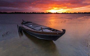 озеро, закат, горизонт, лодка