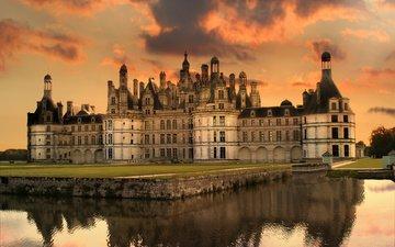 озеро, замок, франция, газон, замок шамбор