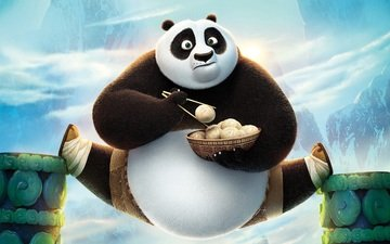еда, панда, удивление, по, шпагат, po, анимация, kung fu panda 3, кунг фу панда, пельмешки, кунг-фу панда