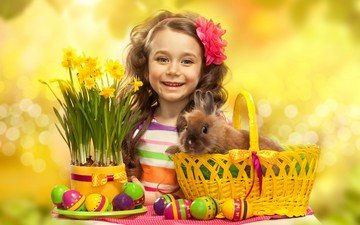smile, children, girl, hair, face, rabbit, easter, eggs, easter eggs, daffodils