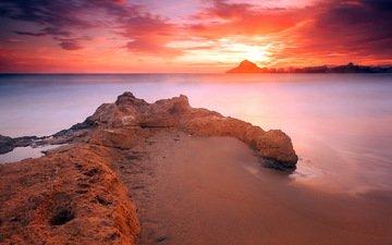небо, облака, скалы, берег, закат, пейзаж, море