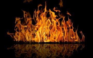 flame, reflection, fire