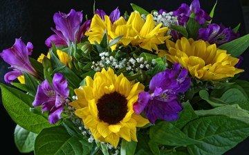 цветы, подсолнух, букет, альстромерия