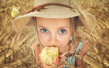 field, look, children, girl, ears, hair, face, apple, hat