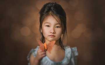 portrait, look, butterfly, children, girl, hair, face