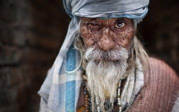 портрет, взгляд, человек, мужчина, нос, старик, борода, седина
