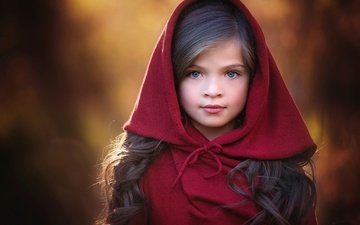 portrait, look, children, girl, hair, face, child, hood
