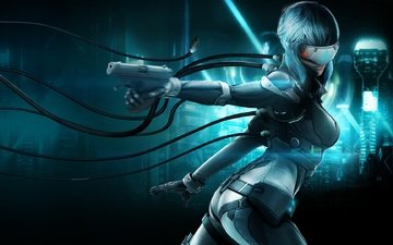 wire, girl, weapons, fiction, gun, glasses, costume, cyborg