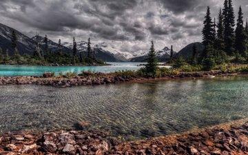 небо, река, горы, камни, берег, тучи, осень, канада
