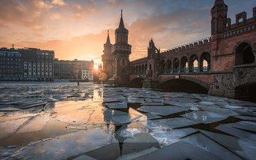 река, мост, лёд, дома, германия, берлин, обербаумбрюкк