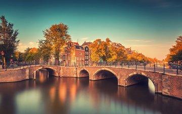 река, мост, здания, нидерланды, амстердам