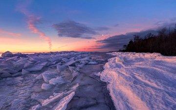 деревья, река, снег, закат, пейзаж, лёд