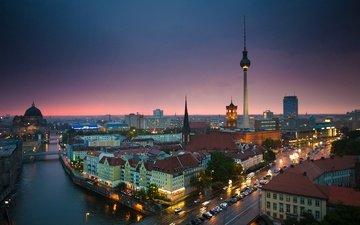 река, собор, панорама, башня, дома, германия, берлин