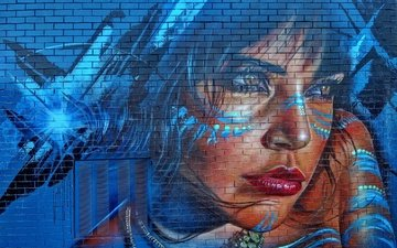 figure, girl, look, wall, lips, face, brick, graffiti
