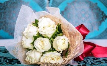 цветы, розы, букет, белые, лента, упаковка