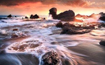 деревья, река, скалы, снег, камни, берег, волны, закат, море, песок, пена, камыш