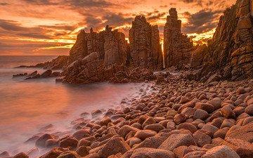 скалы, камни, берег, море, австралия, зарево, мыс, вуламай
