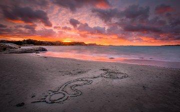скалы, камни, пейзаж, песок, пляж, рассвет, океан
