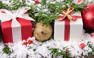 snow, new year, balls, gifts, christmas