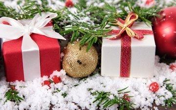 снег, новый год, шары, подарки, рождество