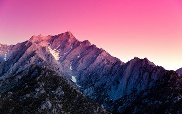 снег, закат, гора, сша, вершина, калифорнийская, alabama hills
