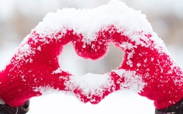 snow, winter, heart, love, hands