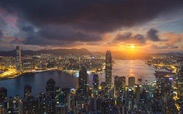 солнце, закат, лучи, дома, китай, здания, гон-конг