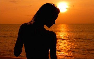солнце, закат, девушка, море, песок, пляж, модель, профиль, спина, силуэт, ирина буромских