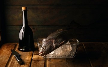 лёд, стол, бутылка, нож, рыба, натюрморт