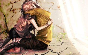 light, plants, girl, guy, cracked, floor, wall, love, hug, genki-de