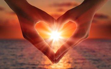 light, the sun, sunset, sea, heart, love, hands