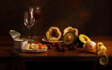 сыр, вишня, вино, бокалы, мандарин, натюрморт, авакадо