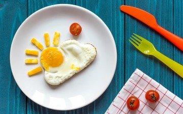 сыр, завтрак, помидоры, солнышко, яичница