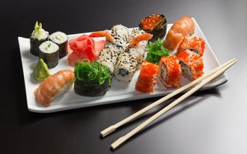 тарелка, икра, палочки, рис, суши, креветки, ролы