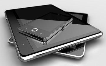чёрно-белое, телефон, планшет, гаджеты, мобила, грей