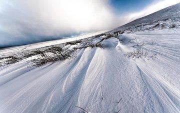 небо, трава, облака, снег, зима, поле, склон